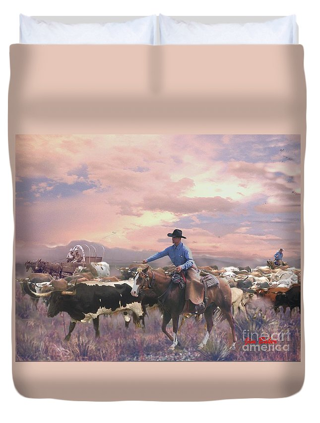 Working Cowboy Canvas Prints Duvet Cover featuring the digital art Crackin The Whip by Jim Baker