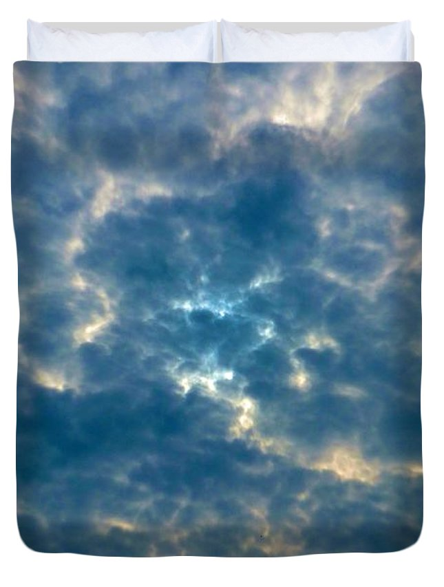 Sky Duvet Cover featuring the photograph Crackled Sky by Marc Philippe Joly