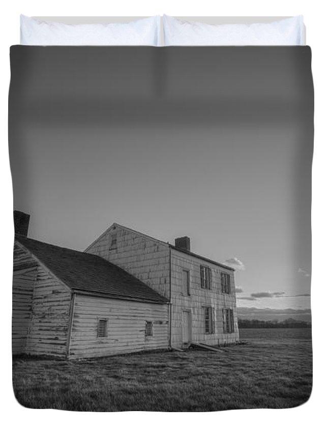 Craig House Duvet Cover featuring the photograph Craig House Sunburst Bw by Michael Ver Sprill