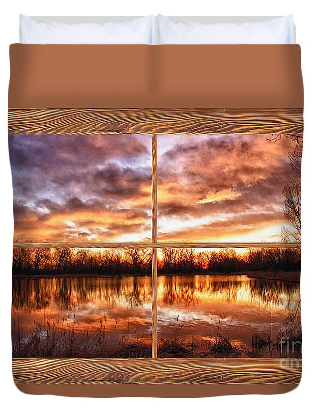 Windows Duvet Cover featuring the photograph Crane Hollow Sunrise Barn Wood Picture Window Frame View by James BO Insogna
