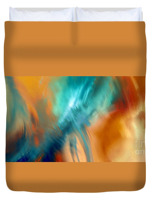 Abstract Duvet Cover featuring the digital art Crashing At Sea Abstract Painting 4 by Andee Design