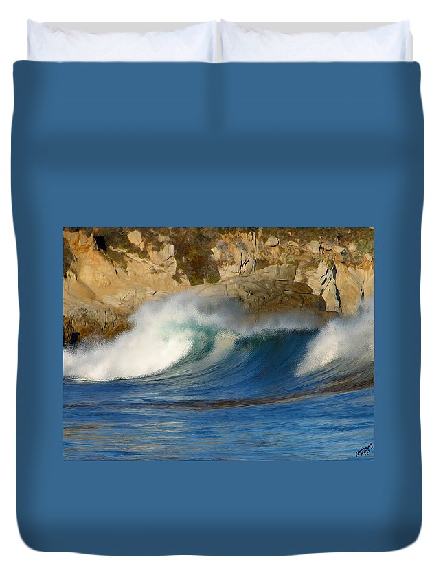 Ocean Duvet Cover featuring the painting Crashing On The Cliff by Bruce Nutting