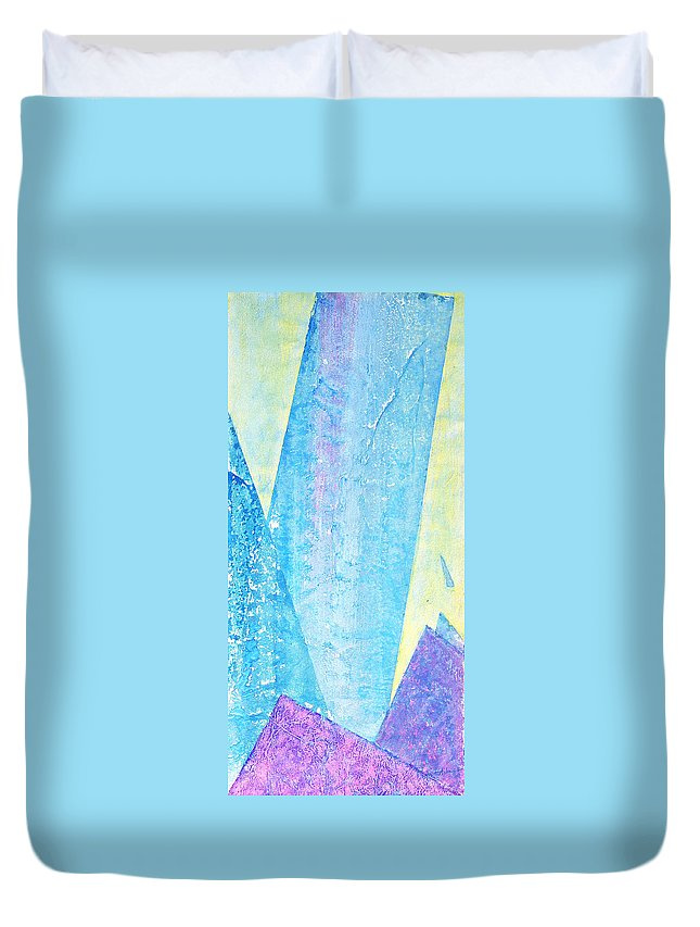 Abstract Painting Duvet Cover featuring the painting Crashing Waves and Rocks by Asha Carolyn Young