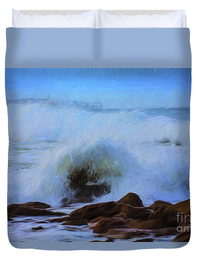 Crashing Waves Duvet Cover featuring the photograph Crashing waves by Sheila Smart Fine Art Photography