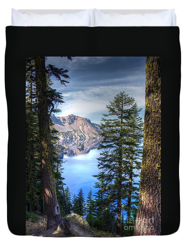 Crater Lake Oregon Duvet Cover featuring the photograph Crater Lake 1 by Jacklyn Duryea Fraizer