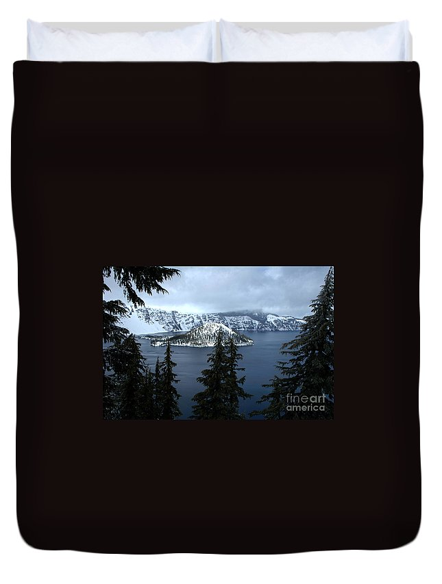 Duvet Cover featuring the photograph Crater Lake Oregon by Mike Nellums