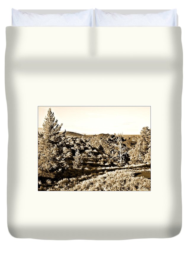 Craters Duvet Cover featuring the photograph Craters Of The Moon1 by Susan Kinney
