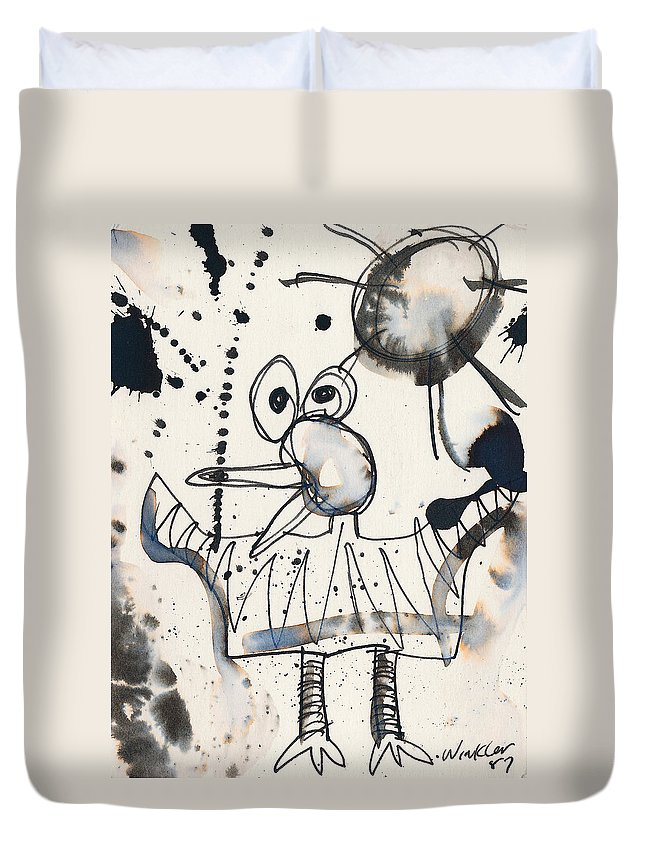 Bird Duvet Cover featuring the painting Crazy Bird by Christopher Winkler