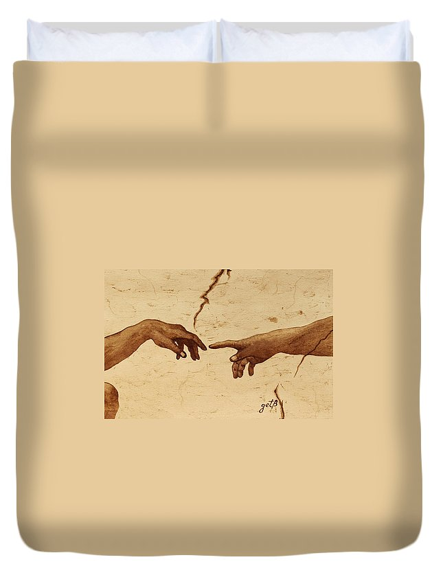 Creation Of Adam Duvet Cover featuring the painting Creation Of Adam Hands A Study Coffee Painting by Georgeta Blanaru
