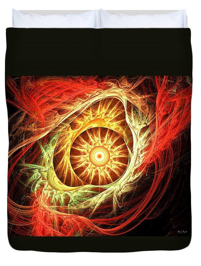 Orange Duvet Cover featuring the digital art Creation Of Sun by Lourry Legarde