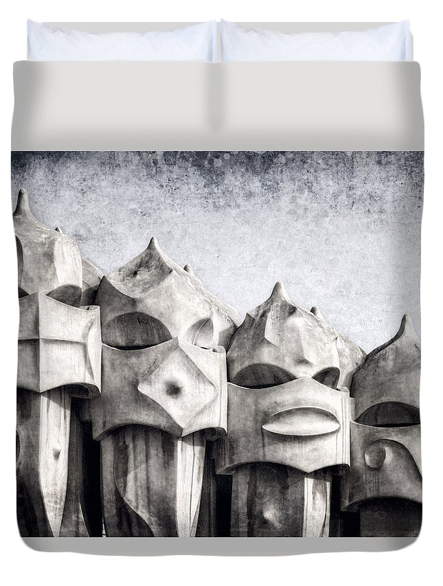 Modern Duvet Cover featuring the photograph Creatures Of La Pedrera Bw by Joan Carroll