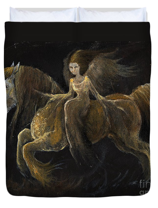 Angel Duvet Cover featuring the painting Creatures Of The Night by Angel Ciesniarska