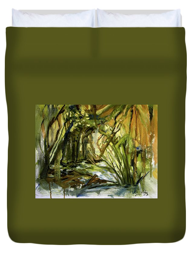 Nature Duvet Cover featuring the painting Creek Levels With Overhang by Julianne Felton