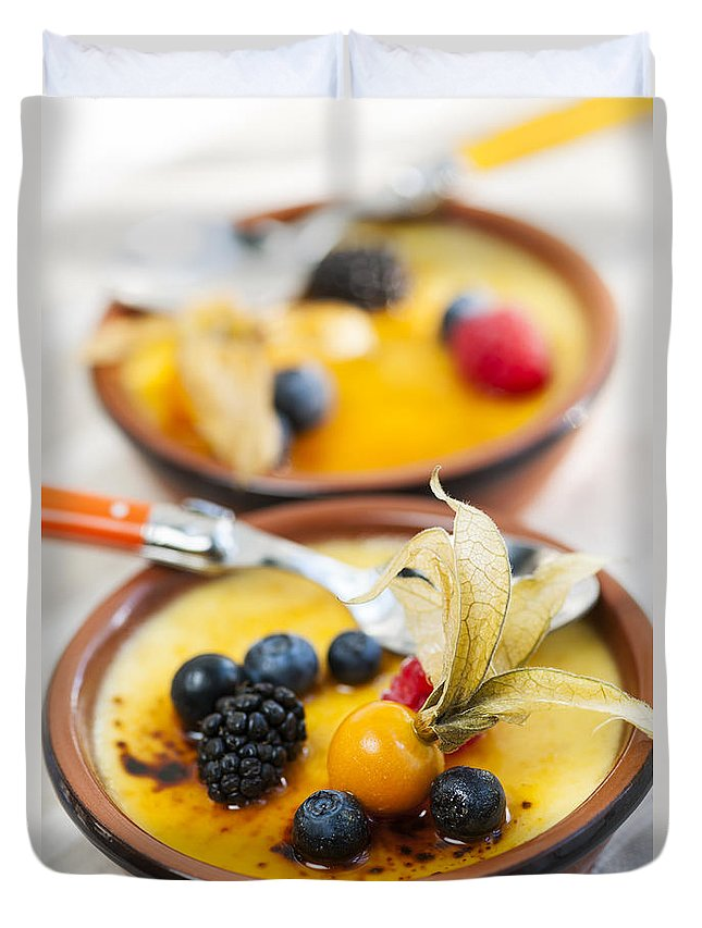 Creme Brulee Duvet Cover featuring the photograph Creme Brulee Dessert by Elena Elisseeva