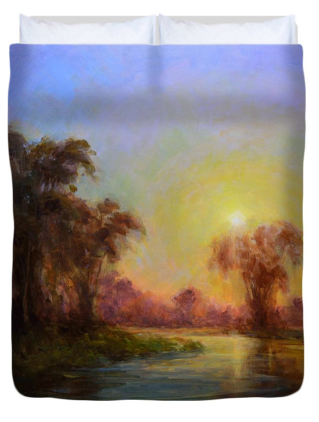 Landscape Duvet Cover featuring the painting Crescendo by Timon Sloane