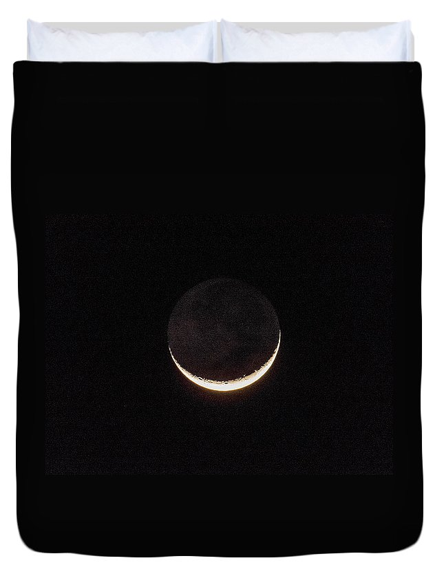 Moon Duvet Cover featuring the photograph Crescent Moon by Zina Stromberg