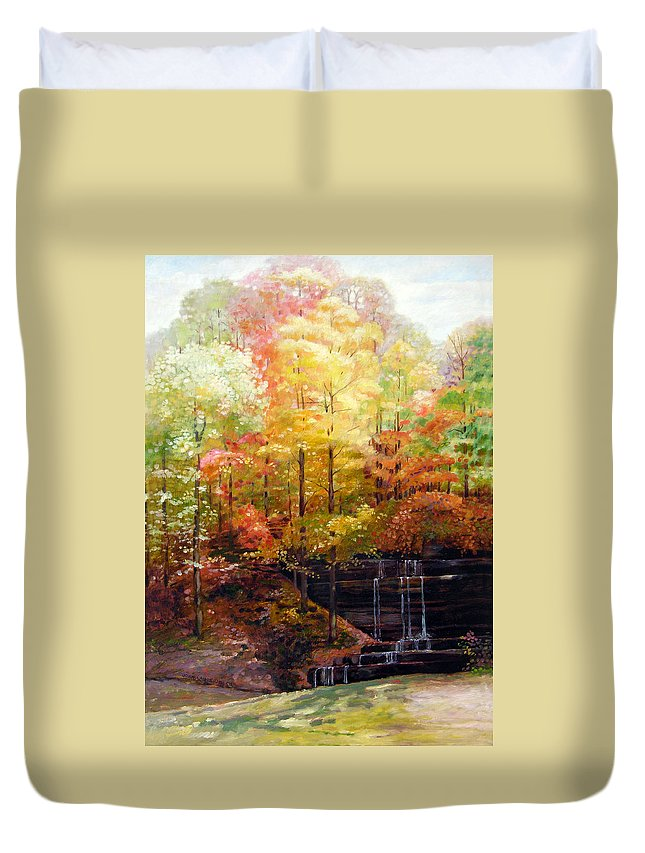 Fall Trees Duvet Cover featuring the painting Creve Coeur Park by John Lautermilch