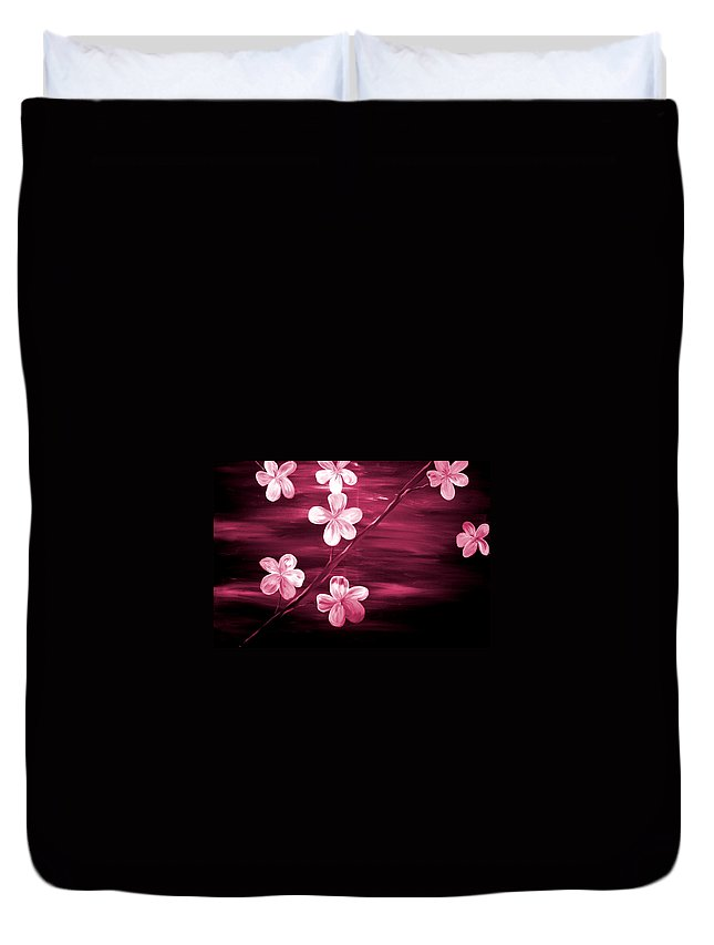 Mark Duvet Cover featuring the painting Crimson Cherry Blossom by Mark Moore