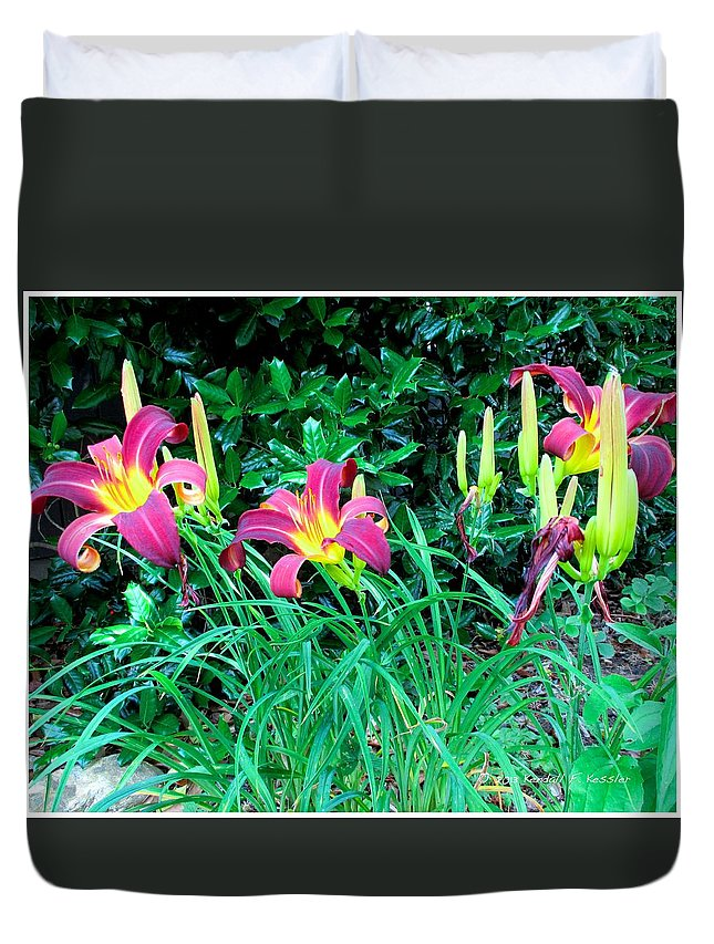 Day Lilies Flowers Duvet Cover featuring the photograph Crimson Flow by Kendall Kessler