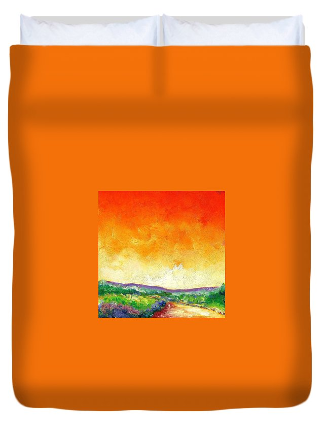 Oil Duvet Cover featuring the painting Crimson Into Lime by Shannon Grissom