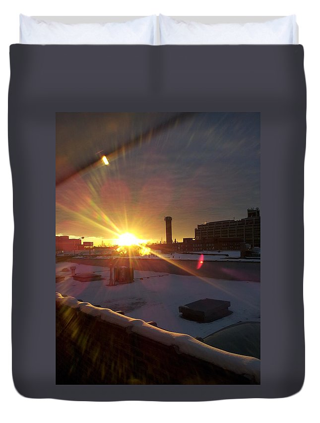 Street Art Duvet Cover featuring the photograph Crisp Chicago Morning by Zac AlleyWalker Lowing