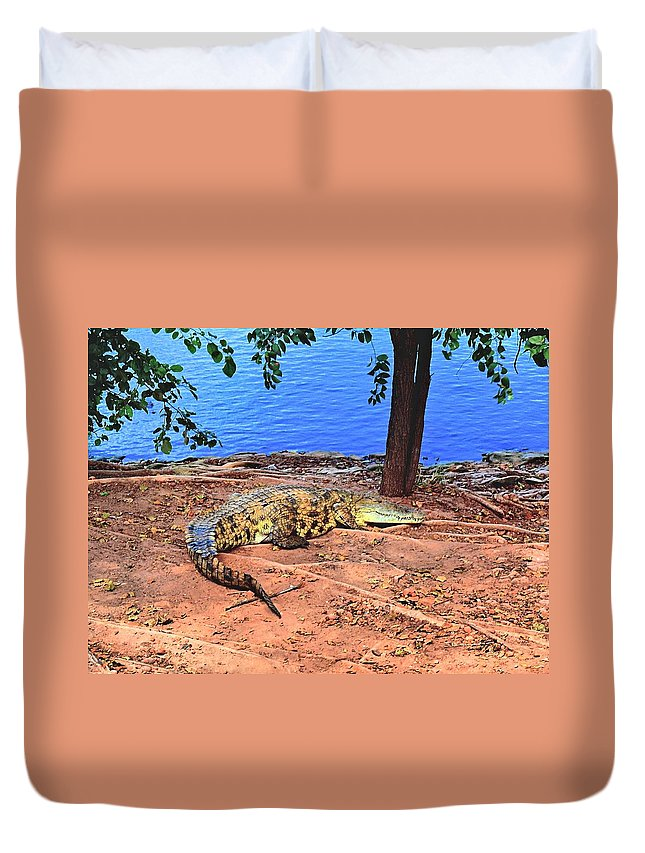 Africa Duvet Cover featuring the photograph Croc Hdr by Martin Michael Pflaum