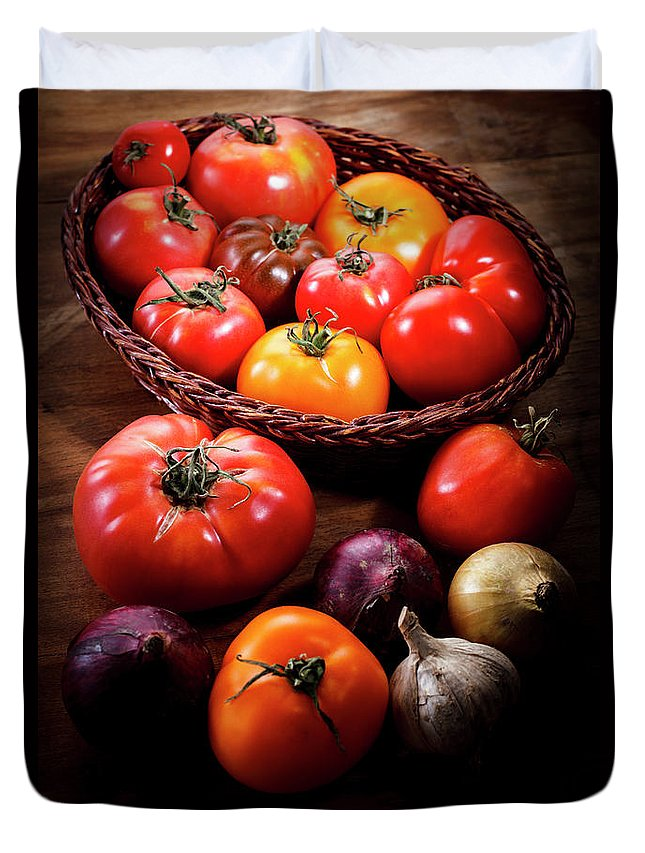 Yield Sign Duvet Cover featuring the photograph Crop Tomatoes by Letty17