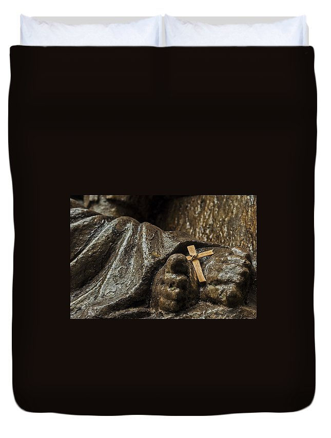 Religion Duvet Cover featuring the photograph Cross And Feet by Jess Kraft