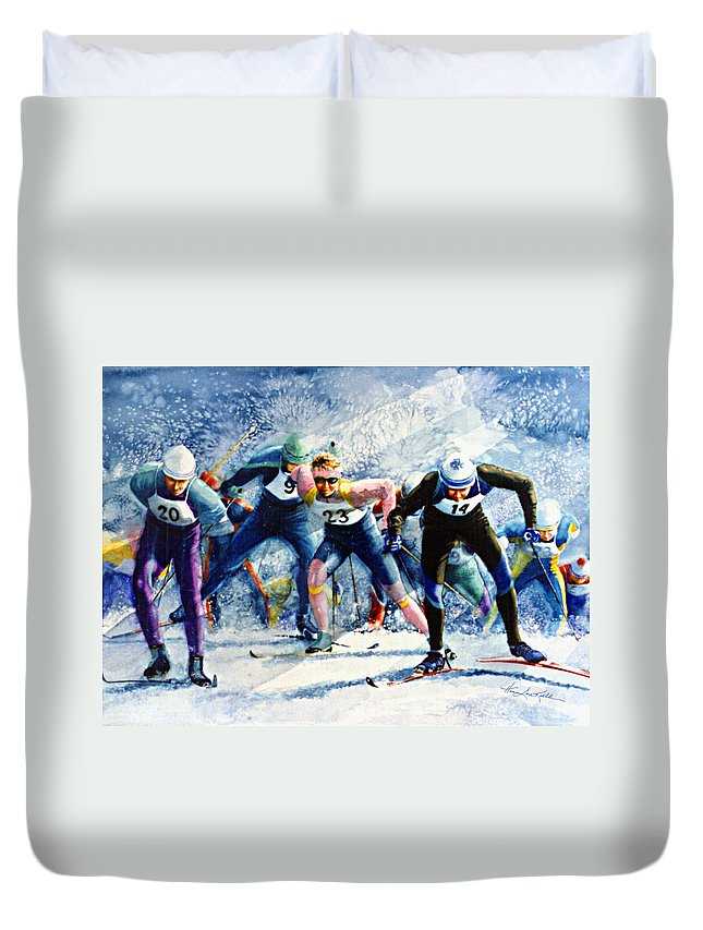 X-country Skiing Duvet Cover featuring the painting Cross-country Challenge by Hanne Lore Koehler