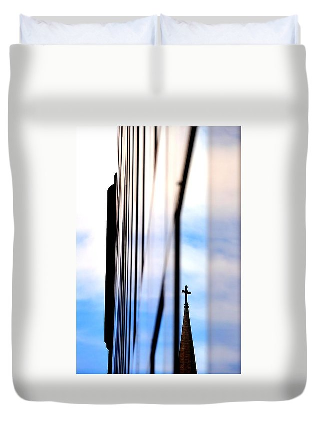 Reflect Duvet Cover featuring the photograph Cross Spire 5077 by Jerry Sodorff