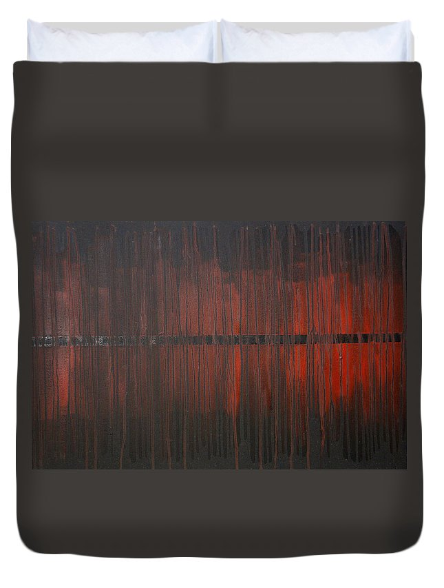 Fantasy Duvet Cover featuring the painting Cross the Line by Sergey Bezhinets