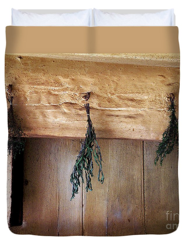 Herbs Duvet Cover featuring the painting Crossbeam With Herbs Drying by RC DeWinter