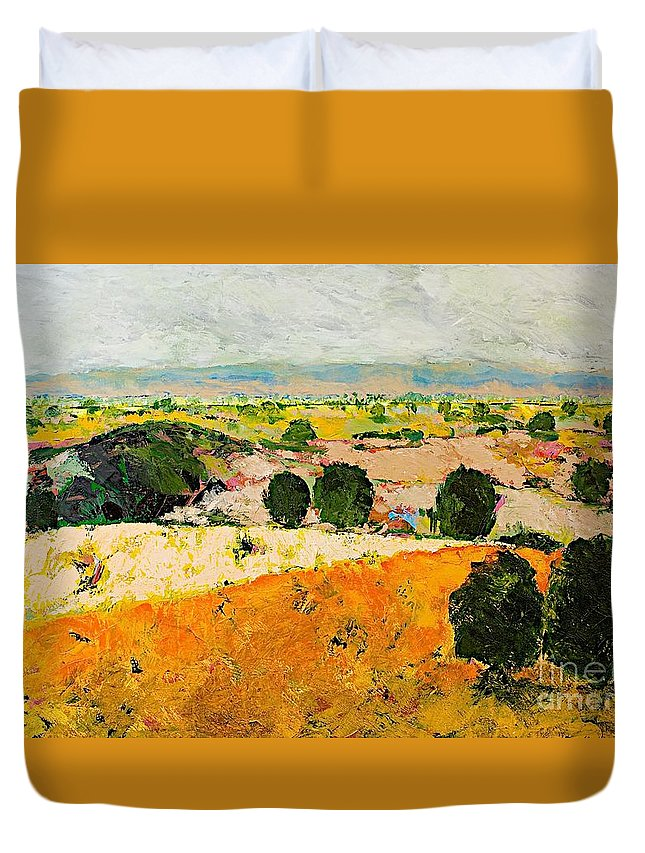 Landscape Duvet Cover featuring the painting Crossing Paradise by Allan P Friedlander