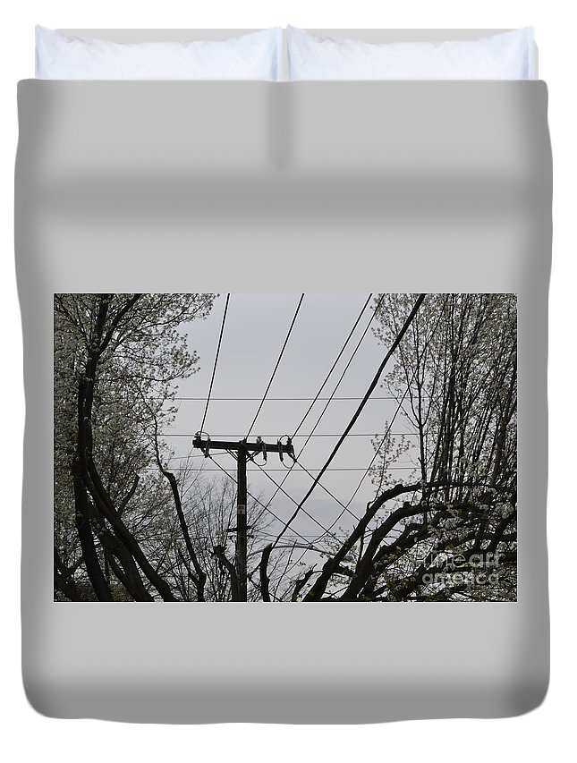 Power Lines Duvet Cover featuring the photograph Crossing Power Lines by Heather Jane