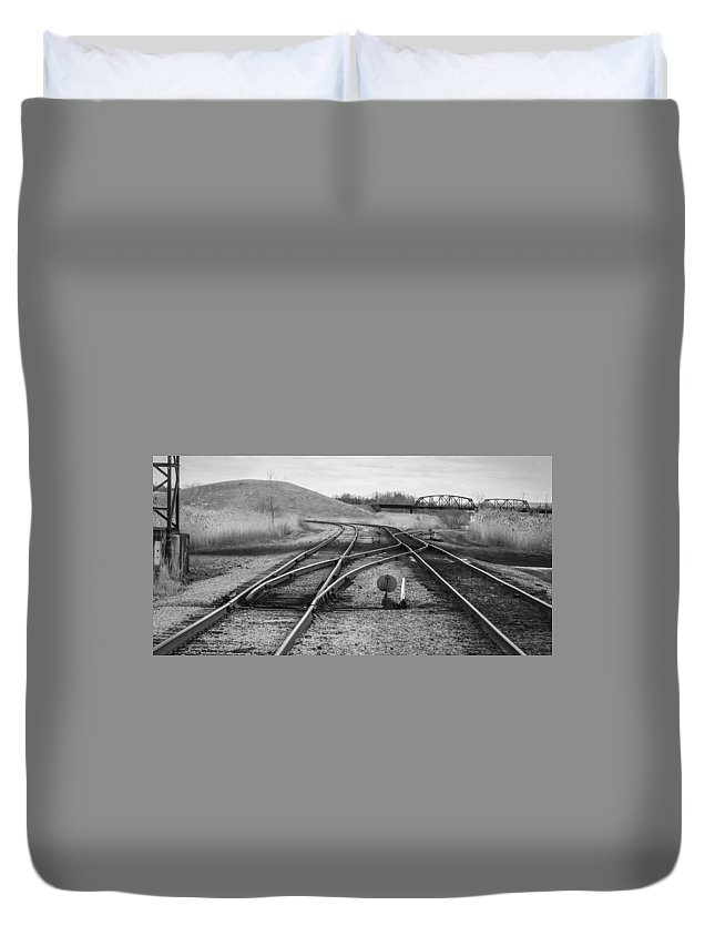 Bridges Duvet Cover featuring the photograph Crossover by Guy Whiteley