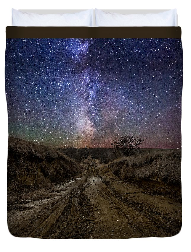 Duvet Cover featuring the photograph Crossroads To Creation by Aaron J Groen