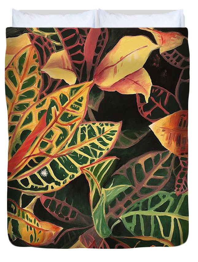 Croton Leaves Duvet Cover featuring the painting Croton Leaves by Judy Swerlick
