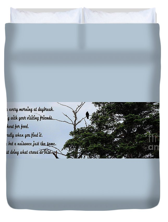 Casing The Scene Duvet Cover featuring the photograph Crow - Black Bird - Loud Call by Barbara Griffin