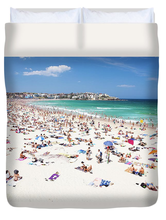 Water's Edge Duvet Cover featuring the photograph Crowded Bondi Beach, Sydney, Australia by Matteo Colombo