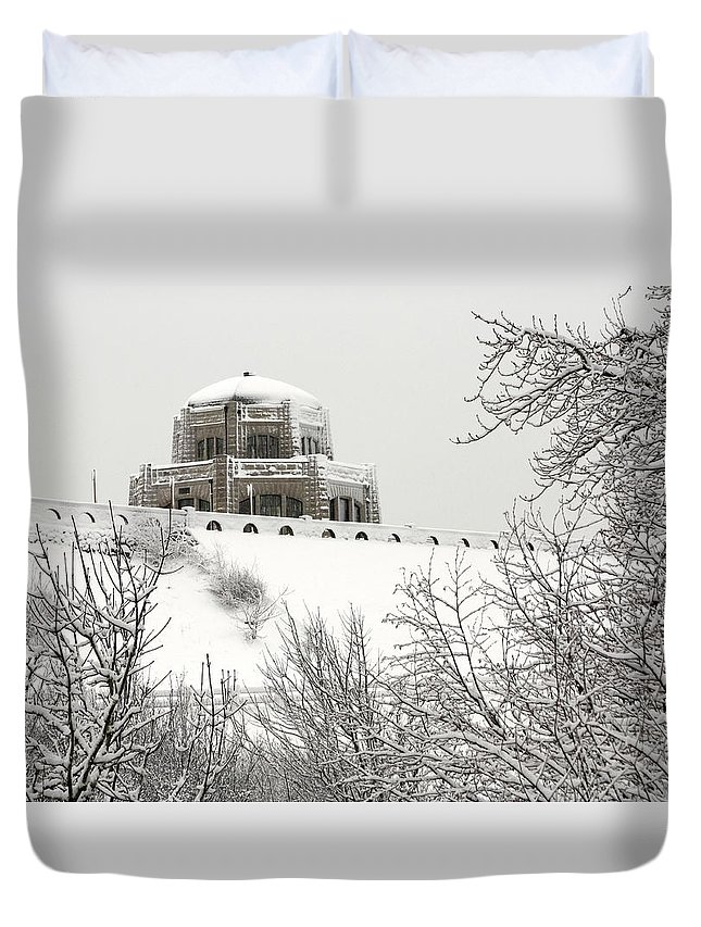 Crown Point From Below Duvet Cover featuring the photograph Crown Point From Below by Wes and Dotty Weber
