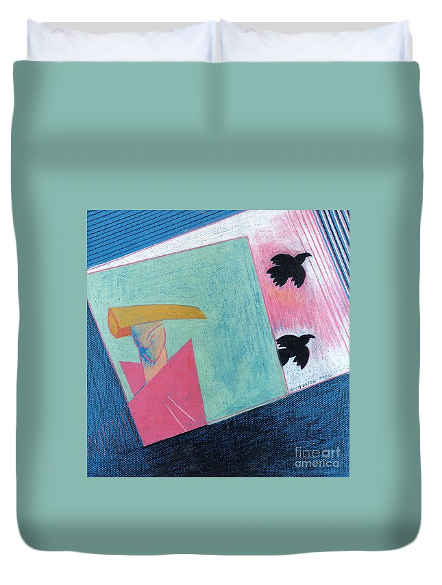 Abstract Duvet Cover featuring the painting Crows And Geometric Figure by Genevieve Esson