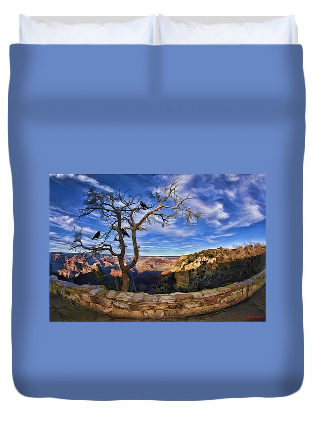 Grand Canyon.landscapes Art Duvet Cover featuring the photograph Crows Of The Grand Canyon by Blake Richards