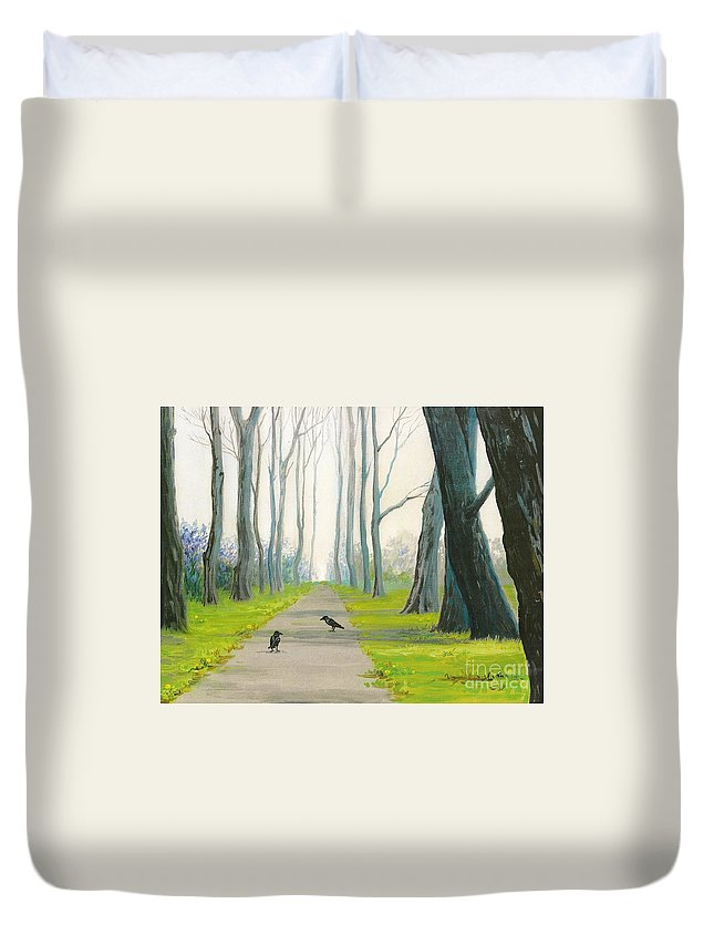 Print Duvet Cover featuring the painting Crows On The Path by Margaryta Yermolayeva