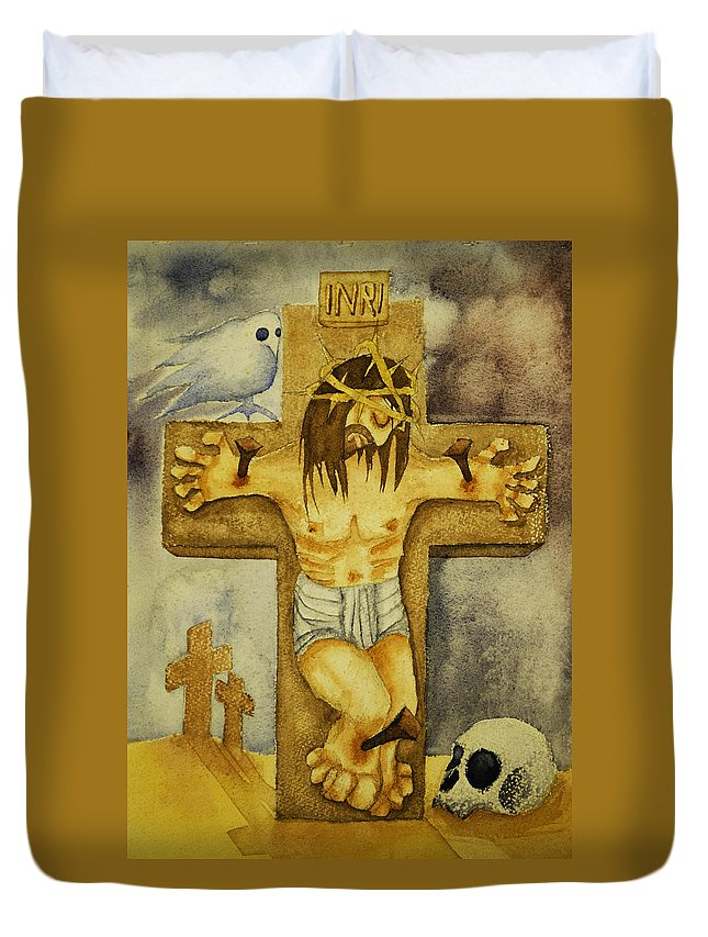 Christ Duvet Cover featuring the painting Crucifixion by Daniel P Cronin