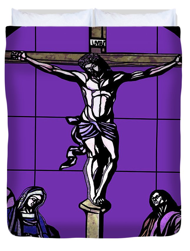Crucifixion Stained Glass Duvet Cover featuring the photograph Crucifixion Stained Glass by Methune Hively