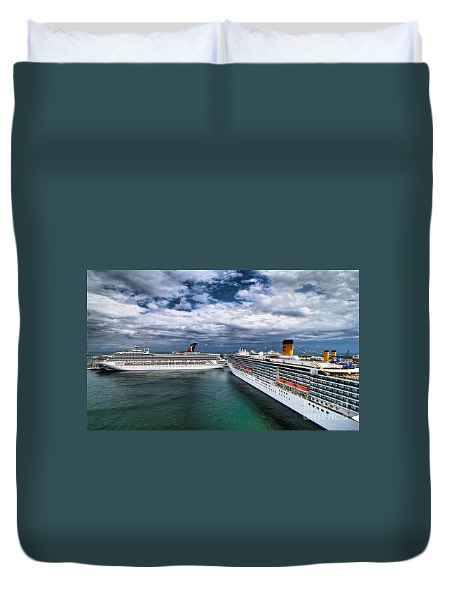 Carnival Duvet Cover featuring the photograph Cruise Ships Port Everglades Florida by Amy Cicconi