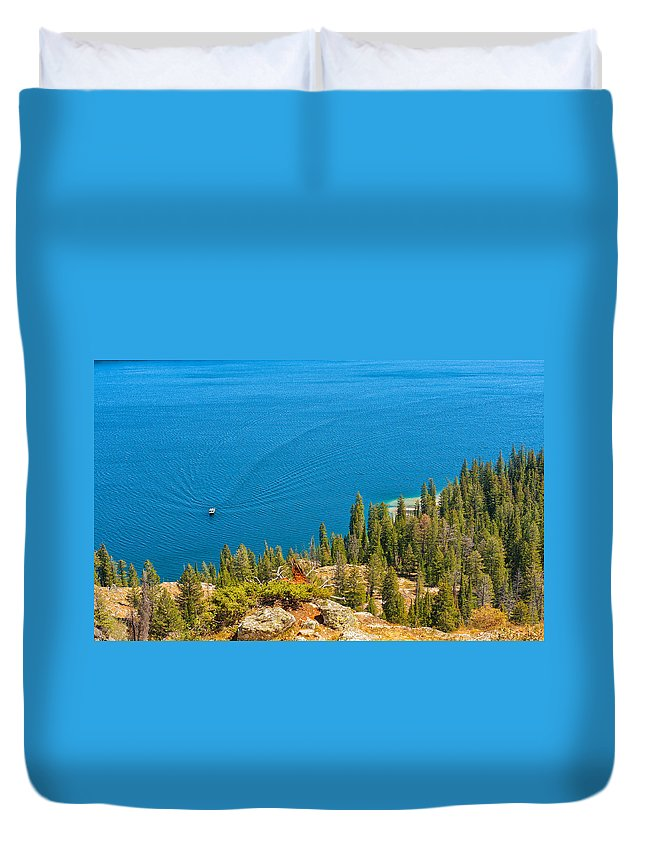Jackson Duvet Cover featuring the photograph Cruising Jenny Lake by John M Bailey