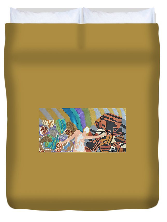Rocks Duvet Cover featuring the painting Crushed by Erika Chamberlin