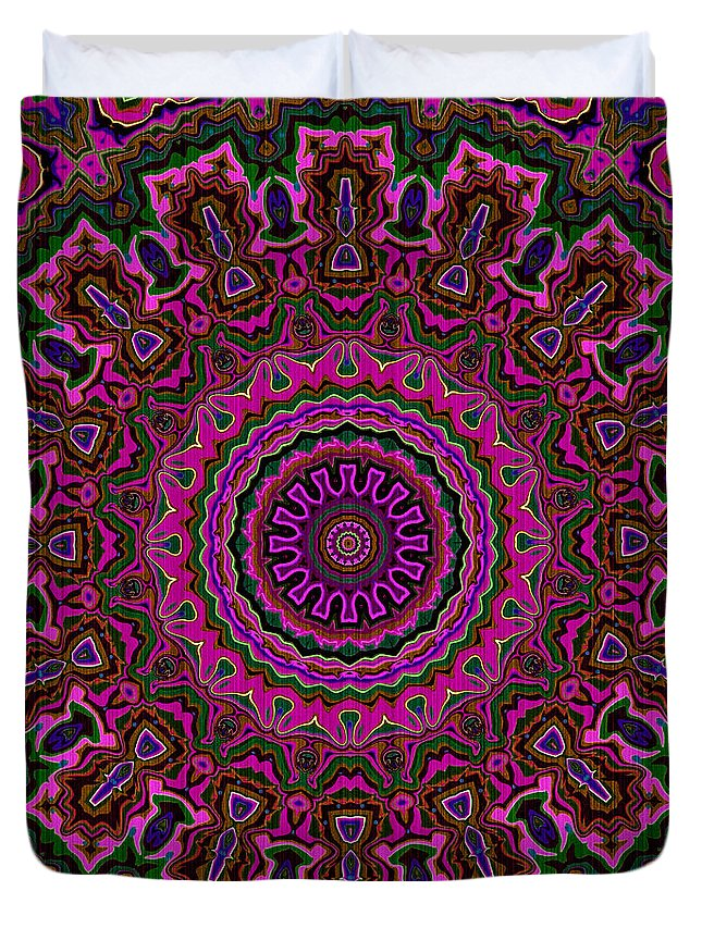 Mandala Duvet Cover featuring the digital art Crushed Pink Velvet Kaleidoscope by Joy McKenzie