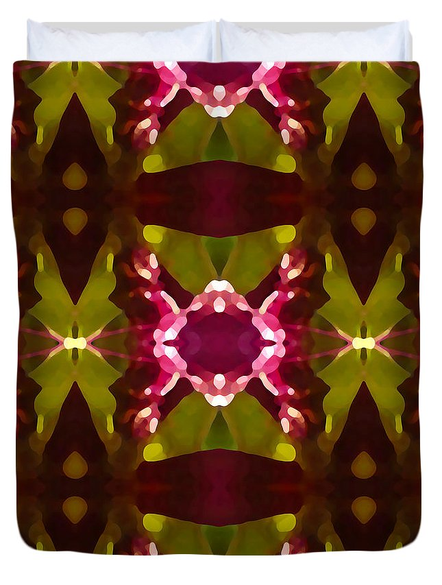 Abstract Duvet Cover featuring the painting Crystal Butterfly Pattern by Amy Vangsgard